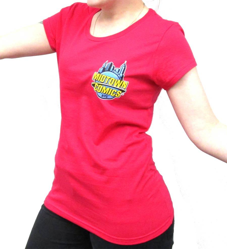 Midtown Comics Logo Juniors Watermelon Red T-Shirt Large
