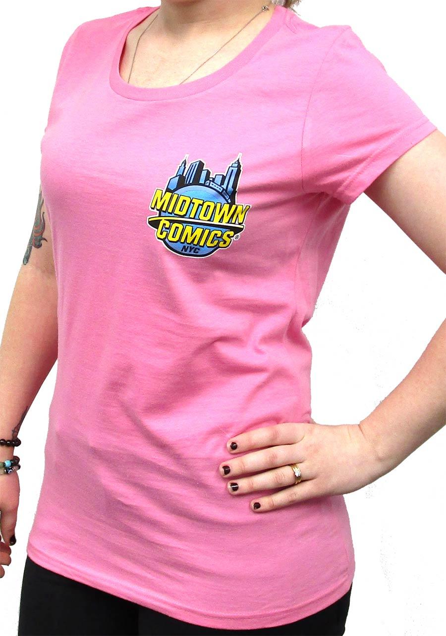 Midtown Comics Logo Juniors True Pink T-Shirt Large