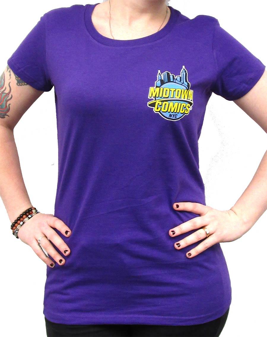 Midtown Comics Logo Juniors Purple T-Shirt Large