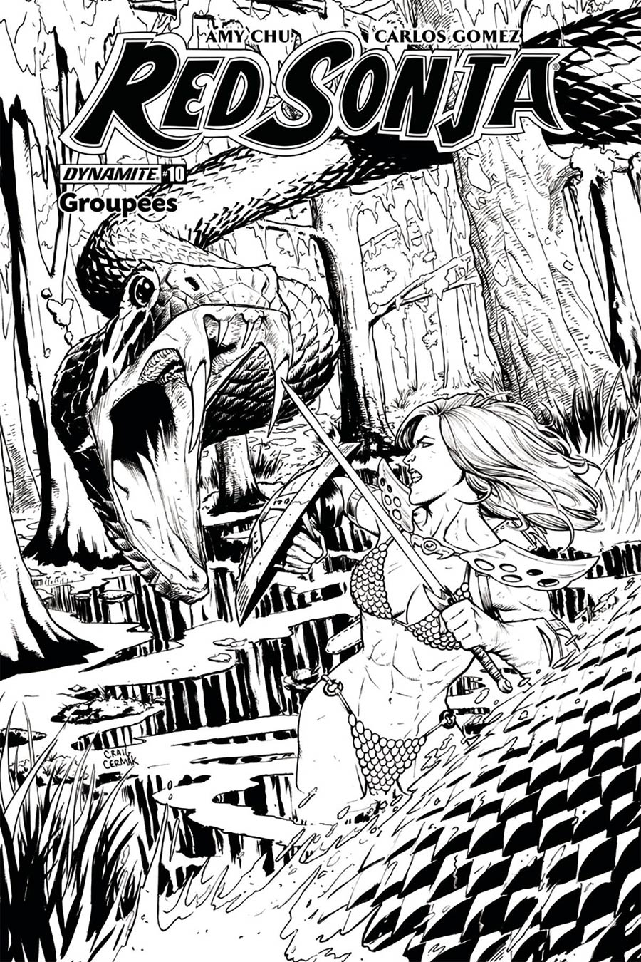 Red Sonja Vol 7 #10 Cover J Groupees Exclusive Craig Cermak Black & White Variant Cover