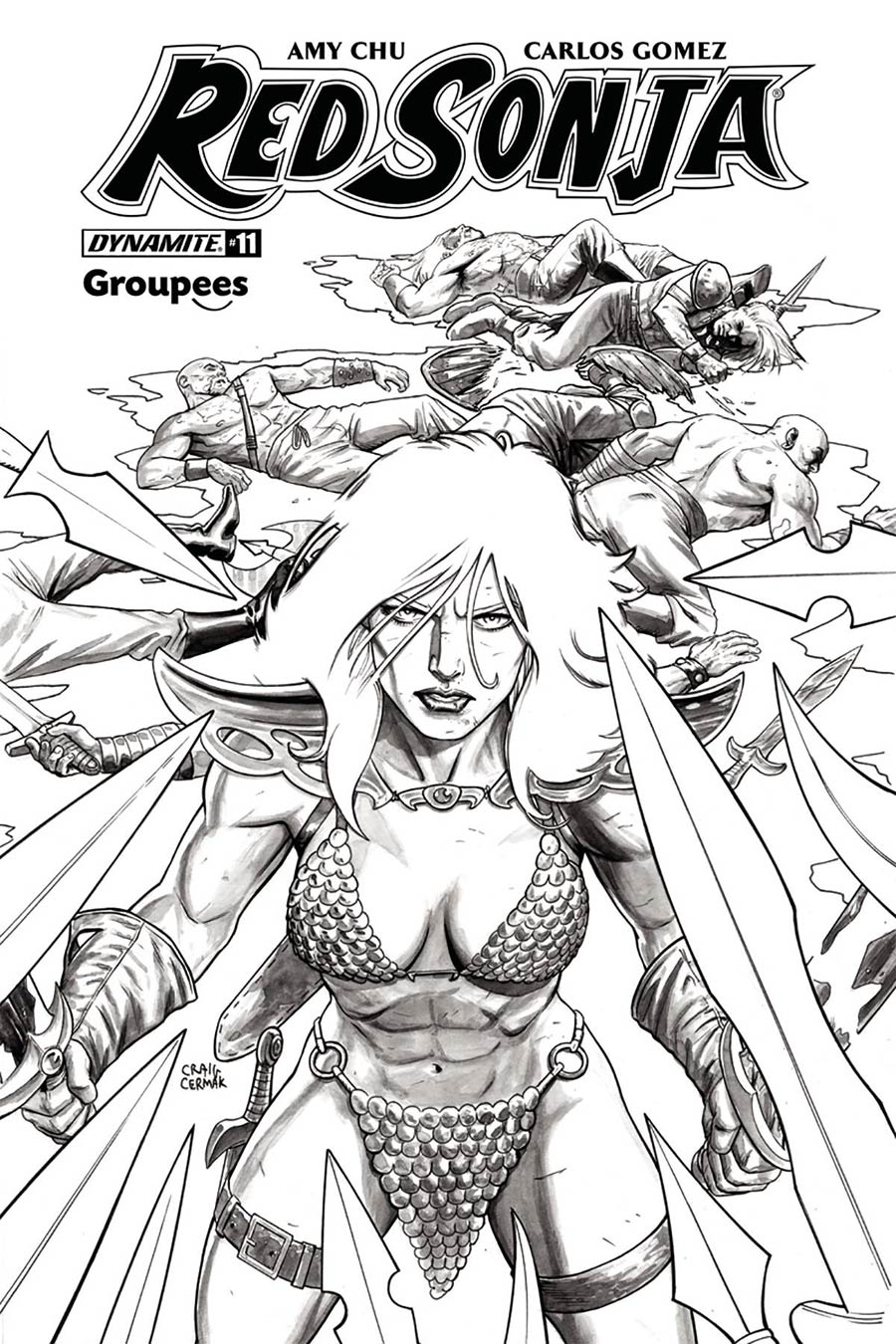 Red Sonja Vol 7 #11 Cover J Groupees Exclusive Craig Cermak Black & White Variant Cover