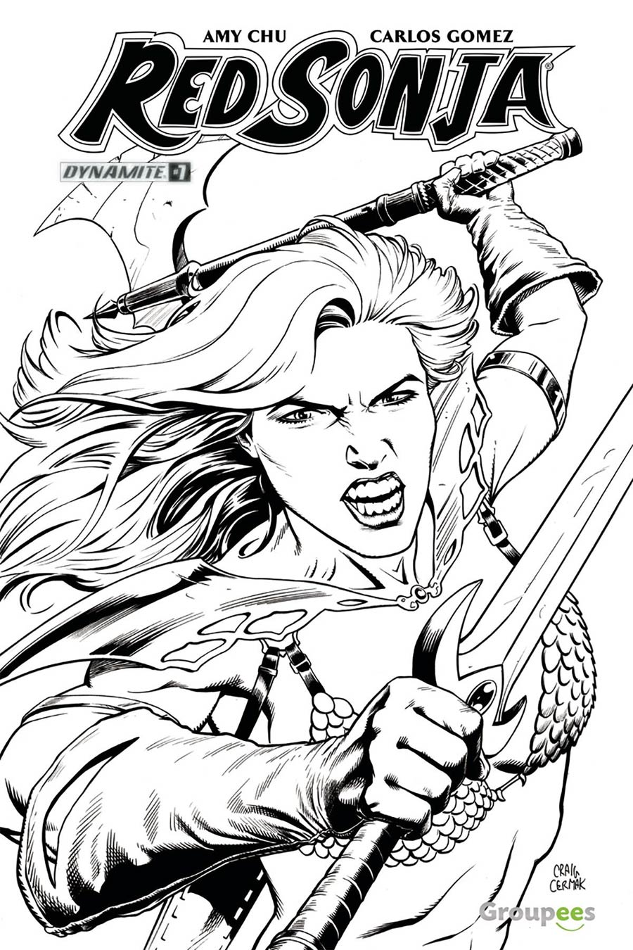 Red Sonja Vol 7 #7 Cover J Groupees Exclusive Craig Cermak Black & White Variant Cover