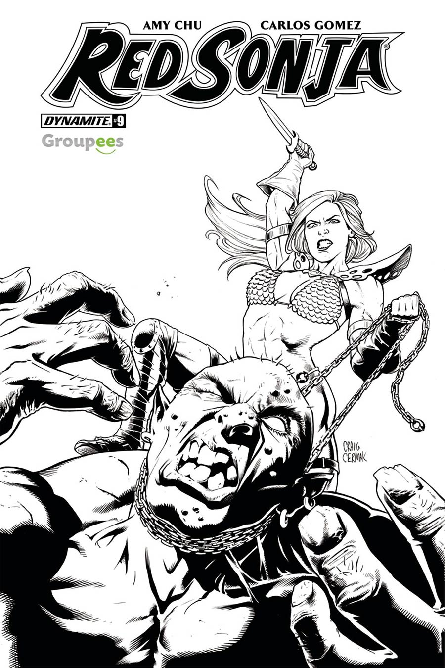 Red Sonja Vol 7 #9 Cover J Groupees Exclusive Craig Cermak Black & White Variant Cover