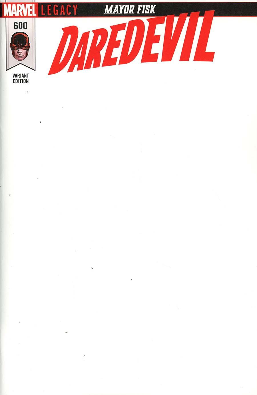 Daredevil Vol 5 #600 Cover D Variant Blank Cover (Marvel Legacy Tie-In)