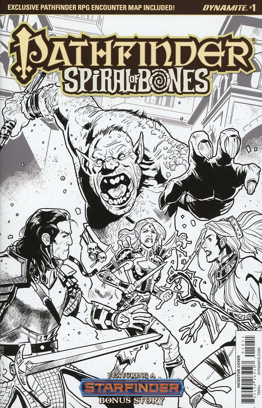 Pathfinder Spiral Of Bones #1 Cover E Incentive Diego Galindo Black & White Cover