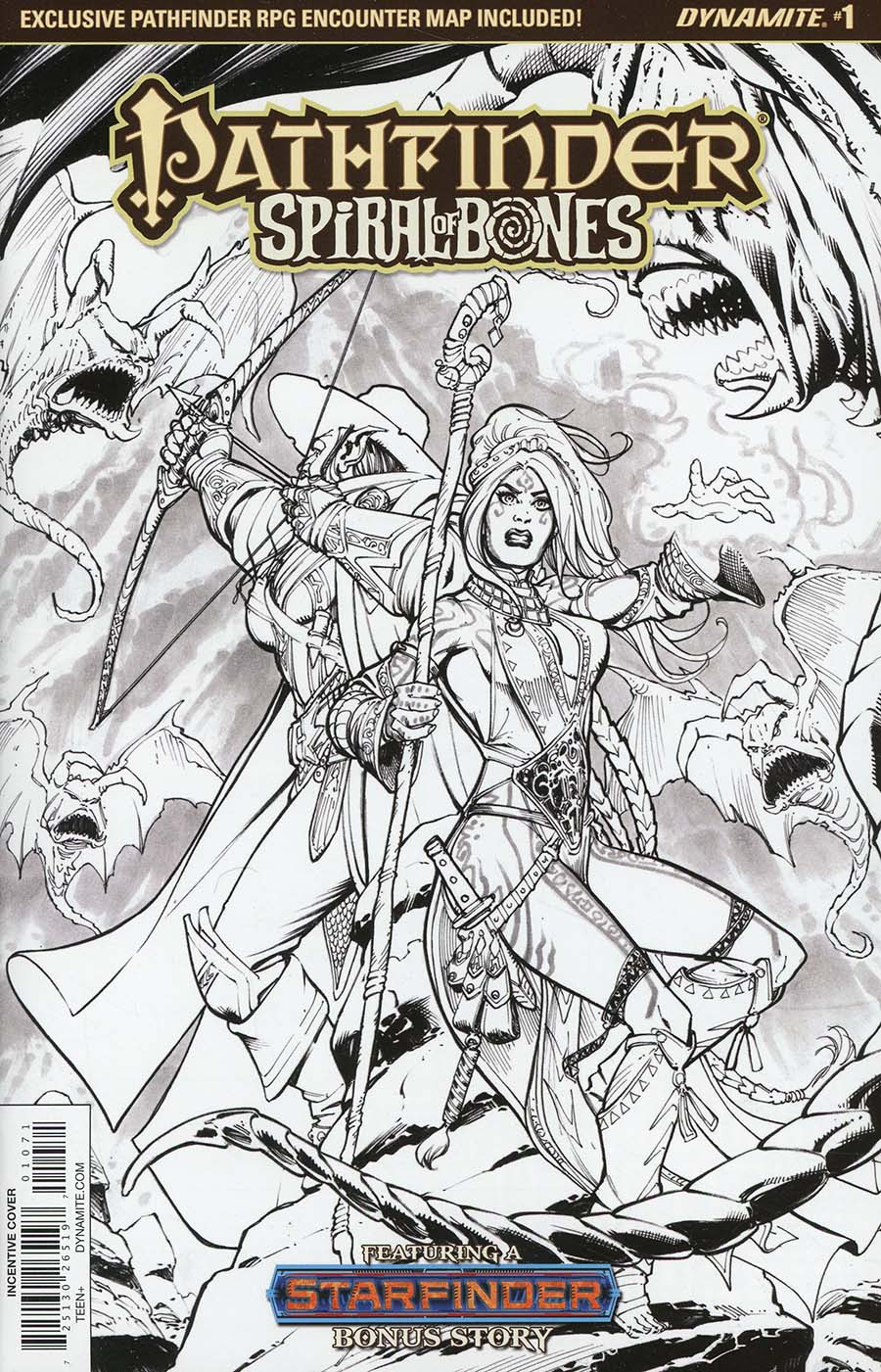 Pathfinder Spiral Of Bones #1 Cover G Incentive Marco Santucci Black & White Cover