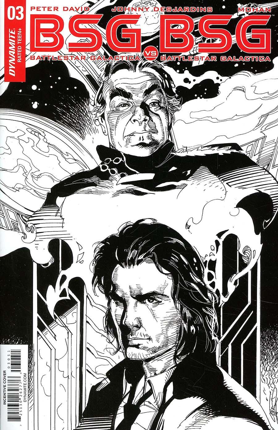 Battlestar Galactica vs Battlestar Galactica #3 Cover E Incentive Roberto Castro Black & White Cover