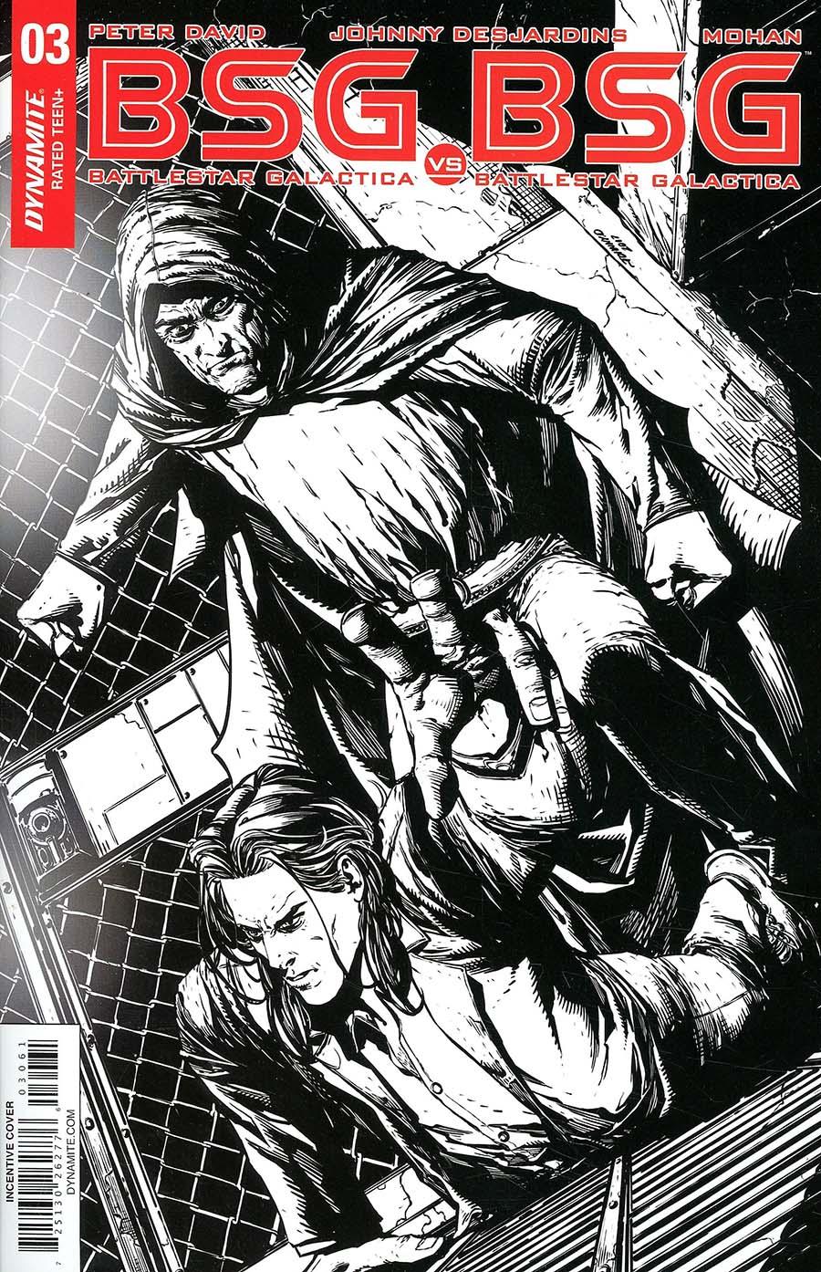 Battlestar Galactica vs Battlestar Galactica #3 Cover F Incentive Johnny Desjardins Black & White Cover