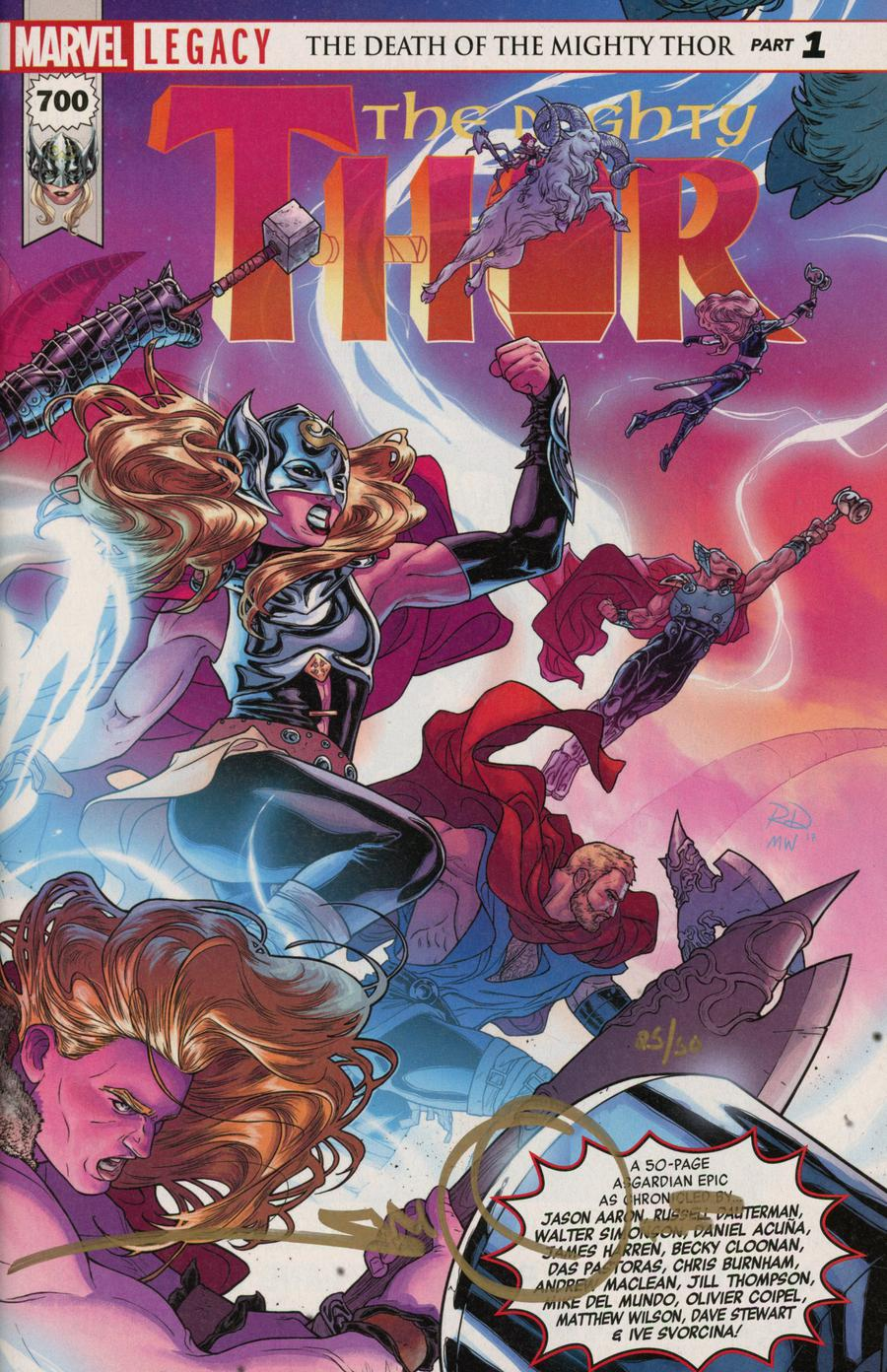 Mighty Thor Vol 2 #700 Cover M DF Gold Elite Signature Series Signed By Walter Simonson