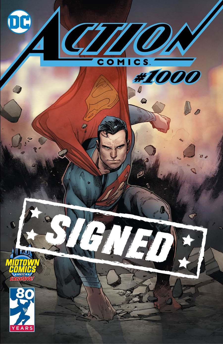 Action Comics Vol 2 #1000  Midtown Exclusive Olivier Coipel Color Variant Cover Signed By Peter J Tomasi