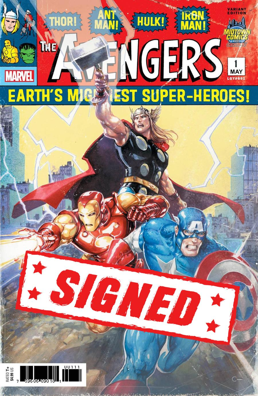 Avengers Vol 7 #1  Midtown Exclusive Clayton Crain Variant Cover Signed By Clayton Crain