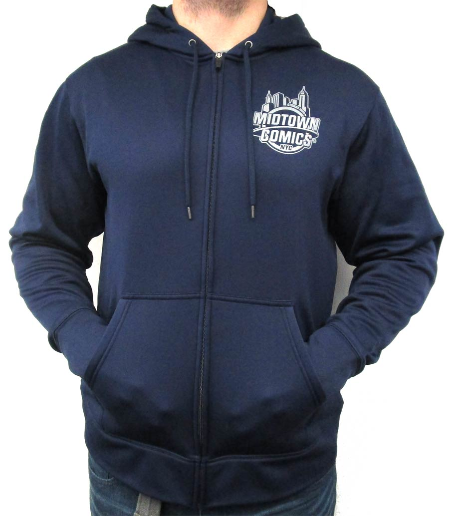 Midtown Comics Silver Logo Navy Mens Hooded Sport-Tek Jacket Large
