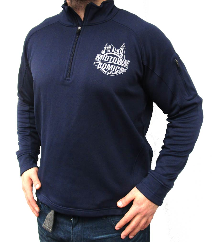Midtown Comics Silver Logo Navy Mens Sport-Tek Pullover Large