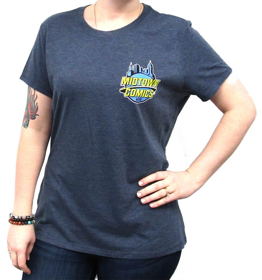 Midtown Comics Logo Juniors Navy Frost Tri-Blend Heathered T-Shirt Large