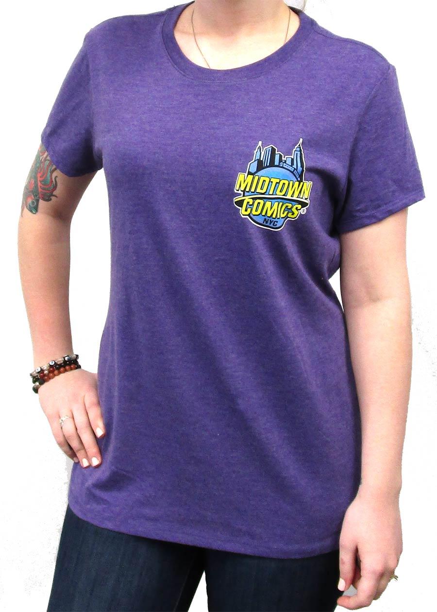 Midtown Comics Logo Juniors Purple Frost Tri-Blend Heathered T-Shirt Large