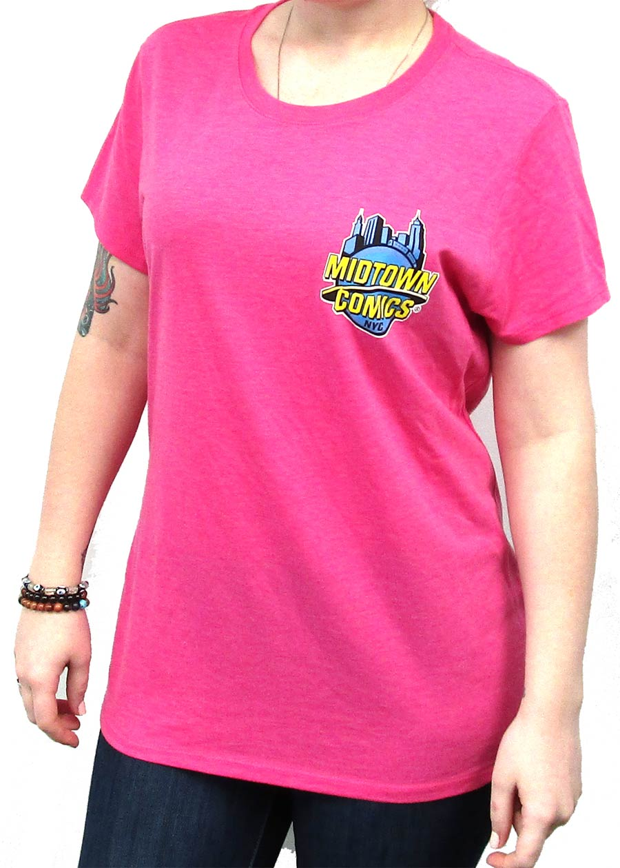 Midtown Comics Logo Juniors Fuschia Frost Tri-Blend Heathered T-Shirt Large