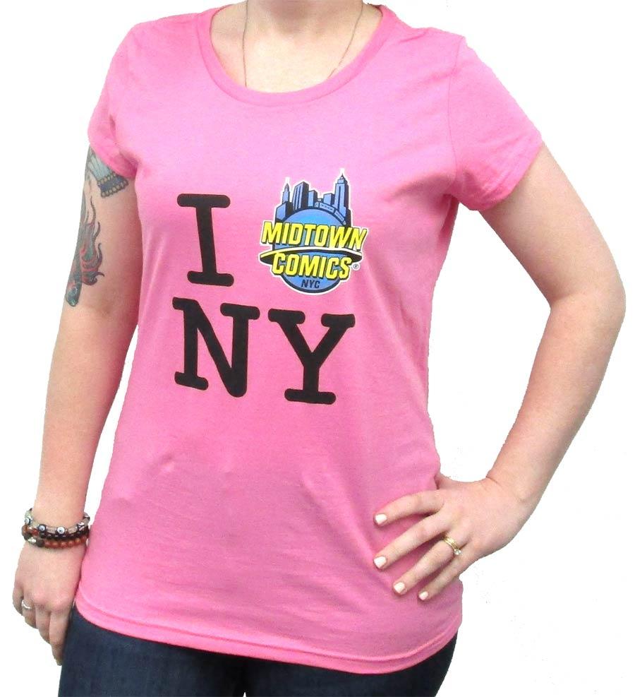 I Midtown Comics NY Juniors True Pink T-Shirt Large