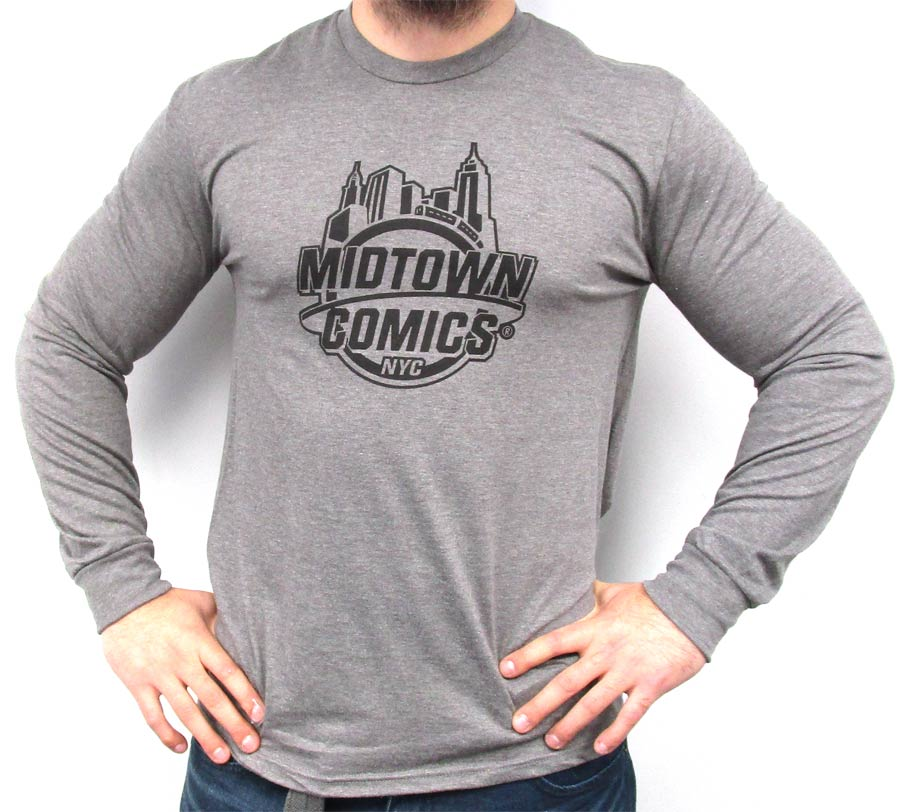 Midtown Comics Black Logo Mens Grey Frost Heathered Long Sleeve Shirt Large