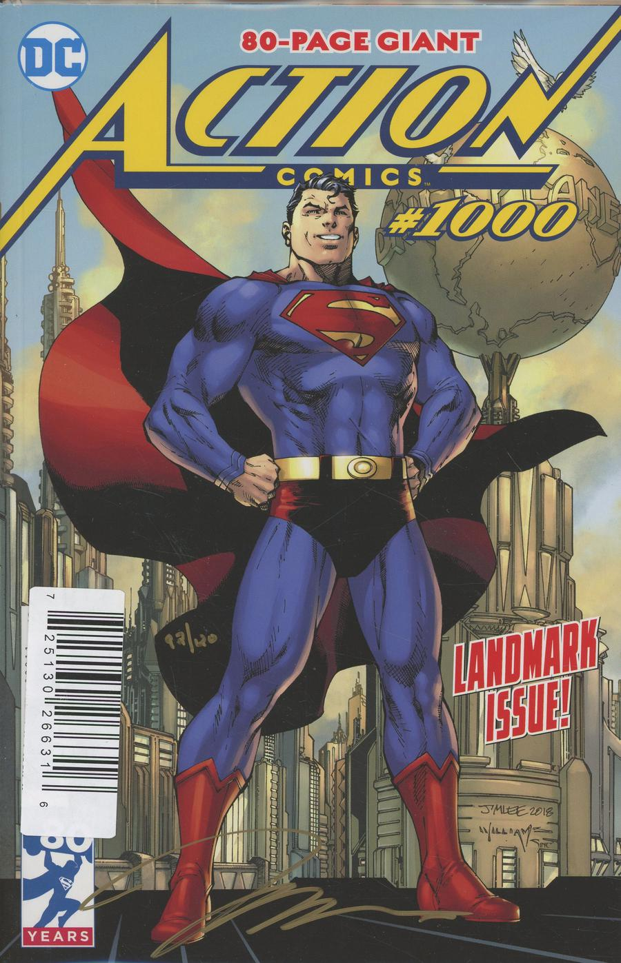 Action Comics Vol 2 #1000 Cover N DF Gold Signature Series Signed By Jim Lee