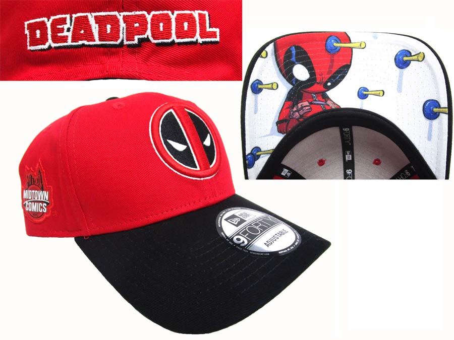Midtown Comics Exclusive Deadpool Logo Red 940 Velcro Strap Cap