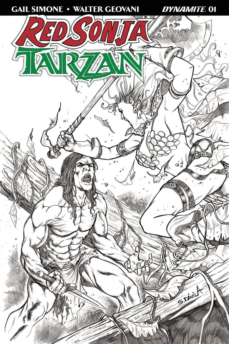 Red Sonja Tarzan #1 Cover G Incentive Sergio Davila Black & White Cover