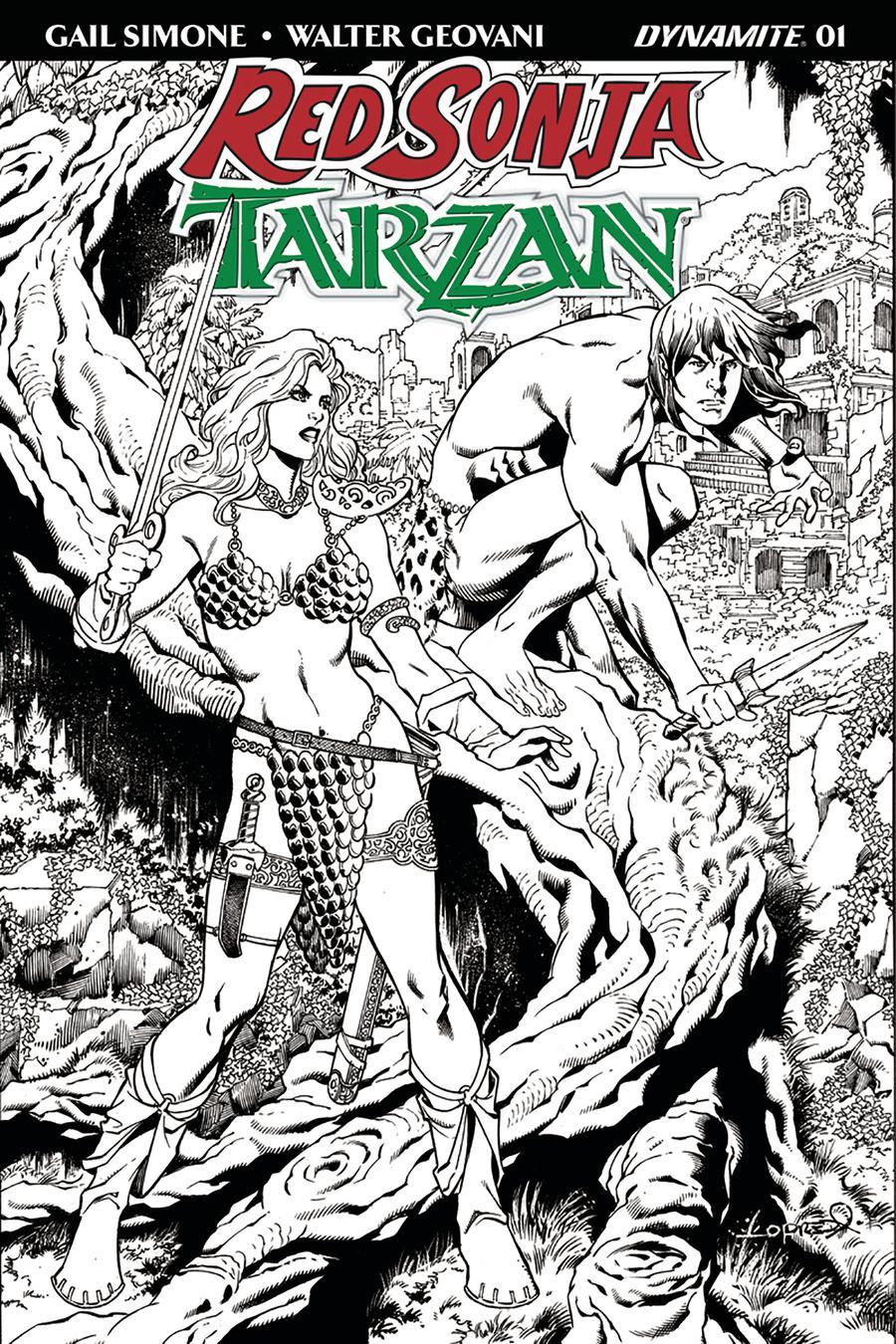 Red Sonja Tarzan #1 Cover H Incentive Aaron Lopresti Black & White Cover