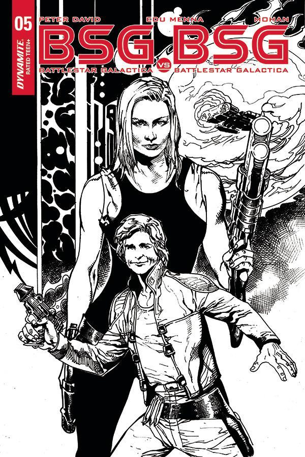 Battlestar Galactica vs Battlestar Galactica #5 Cover E Incentive Roberto Castro Starbuck Split Black & White Cover