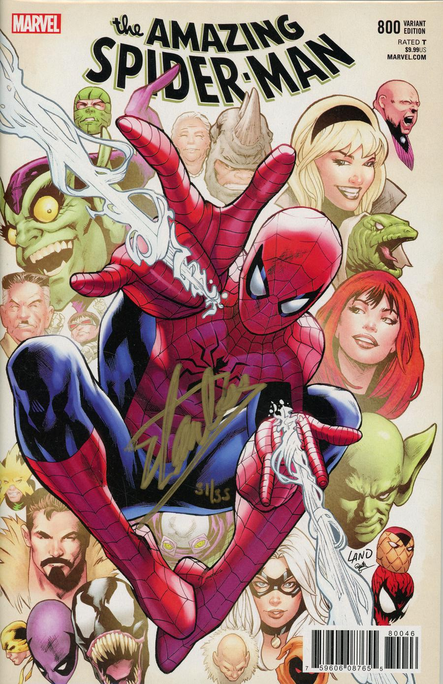 Amazing Spider-Man Vol 4 #800 Cover T DF Gold Signature Series Signed By Stan Lee