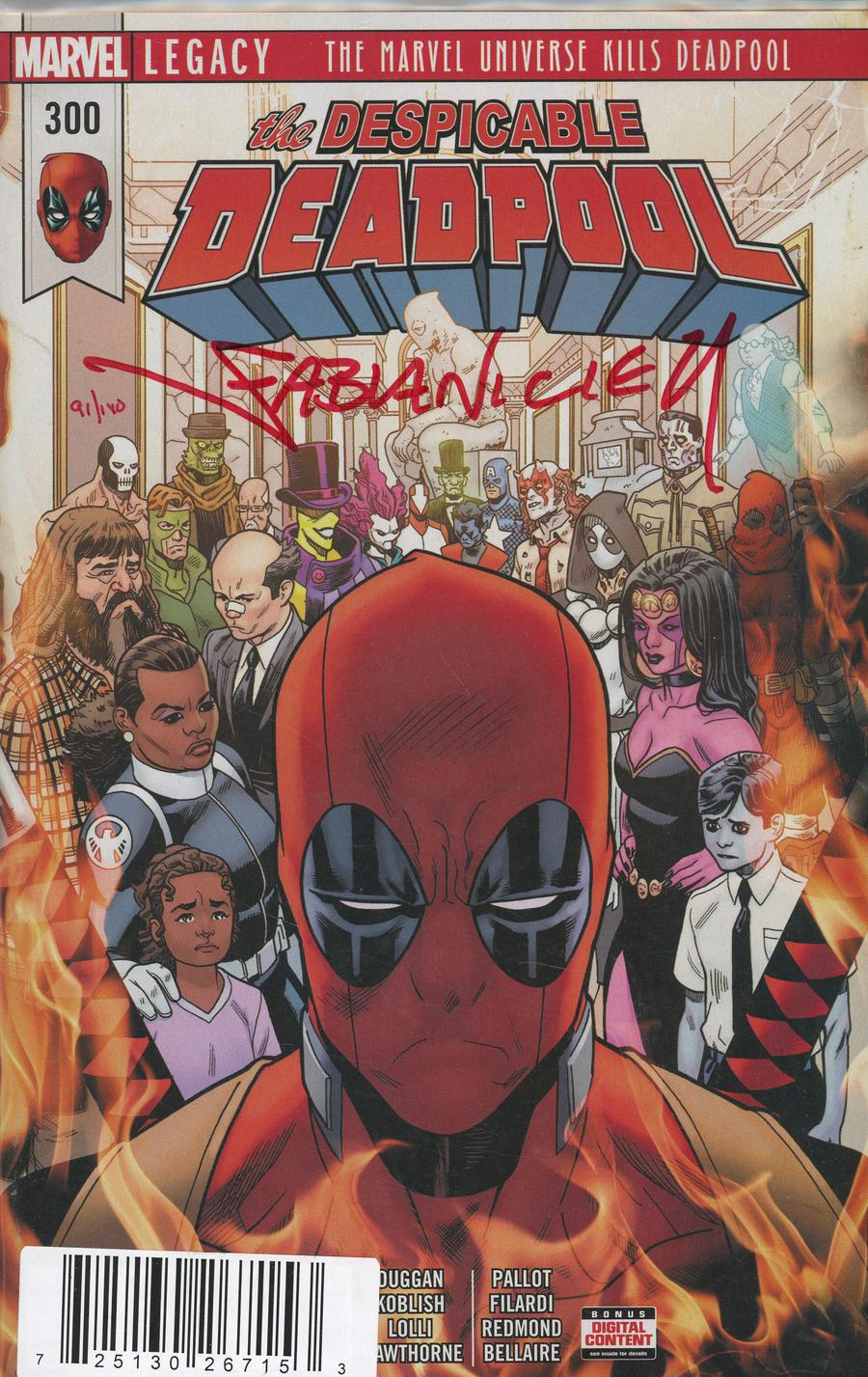 Despicable Deadpool #300 Cover F DF Blood Red Signature Series Signed By Fabian Nicieza