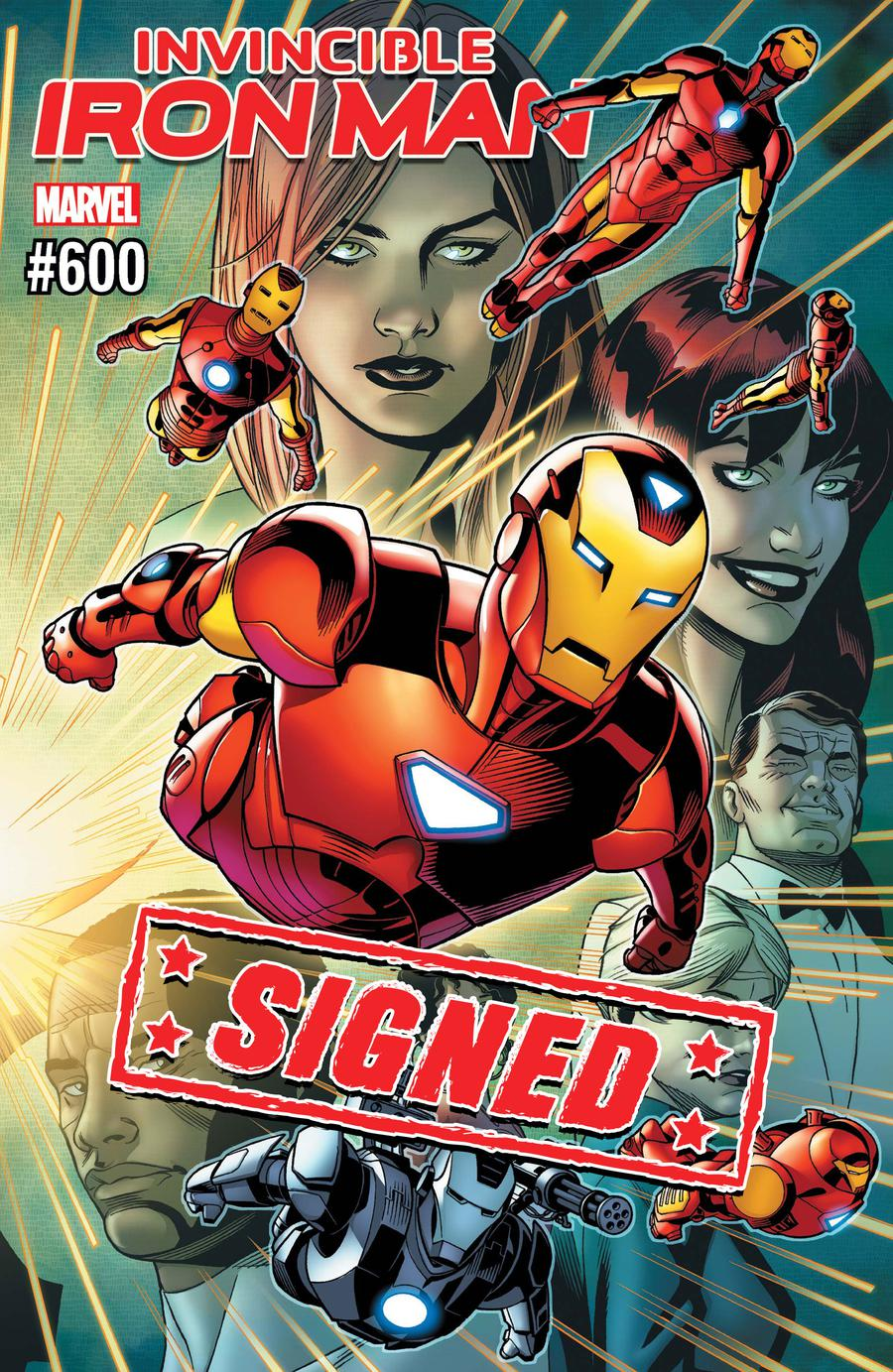 Invincible Iron Man Vol 3 #600 Cover H DF Signed By Brian Michael Bendis