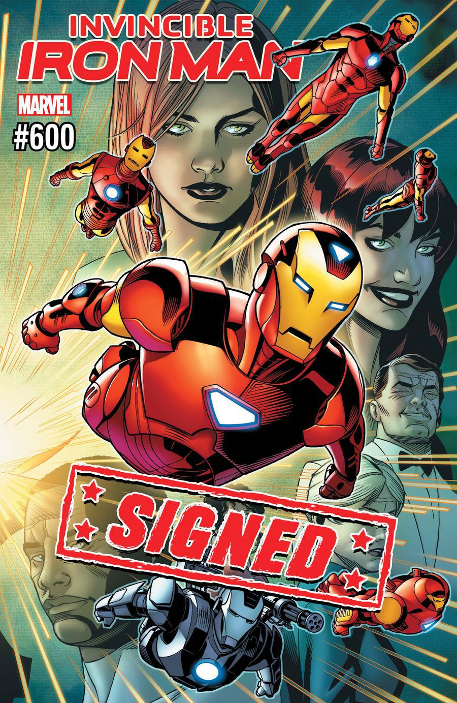 Invincible Iron Man Vol 3 #600 Cover J DF Gold Signature Series Signed By Stan Lee