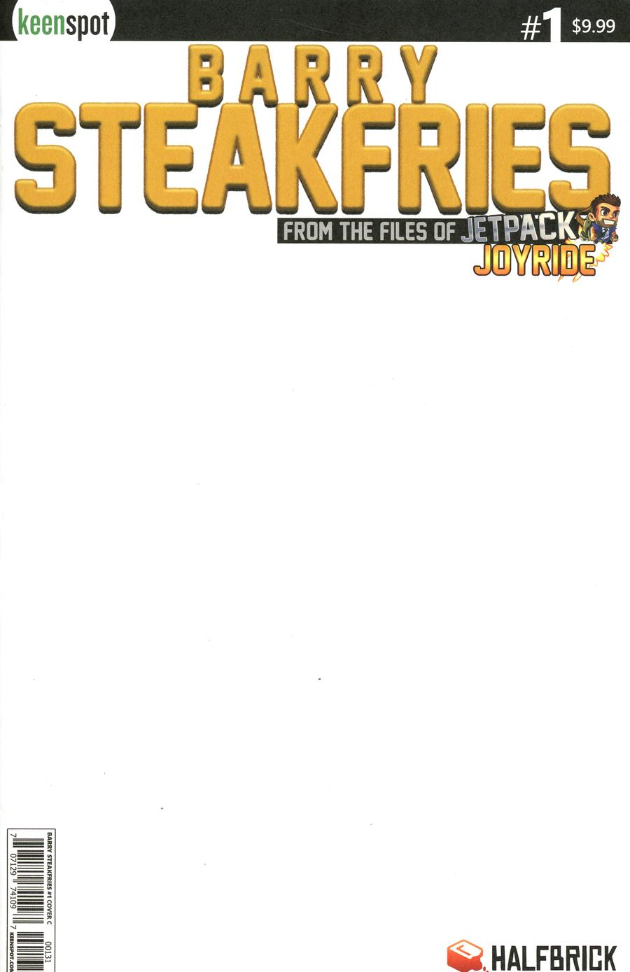 Barry Steakfries #1 Cover C Variant So Expensive Golden Logo Blank Cover