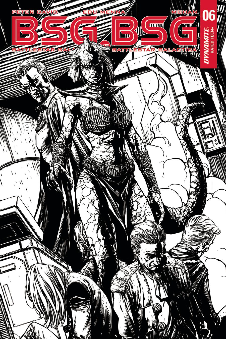 Battlestar Galactica vs Battlestar Galactica #6 Cover F Incentive Johnny Desjardins Black & White Cover