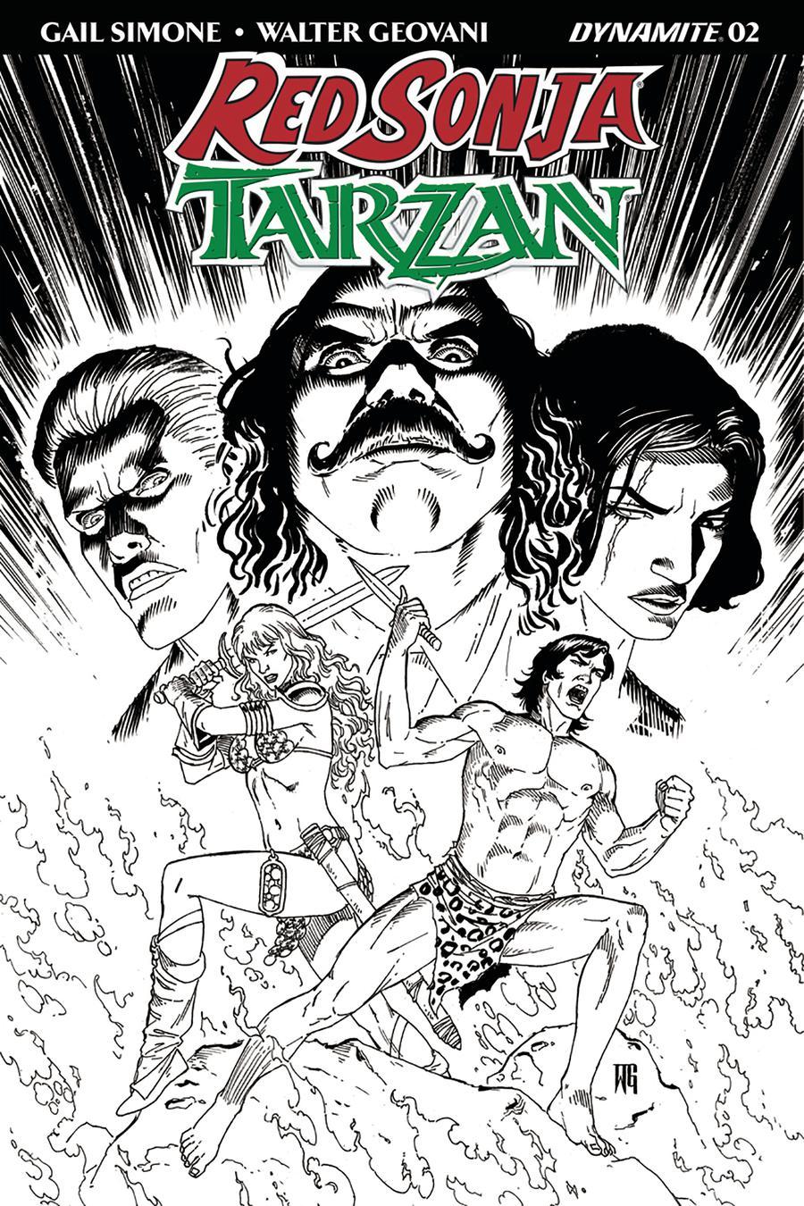 Red Sonja Tarzan #2 Cover E Incentive Walter Geovani Black & White Cover