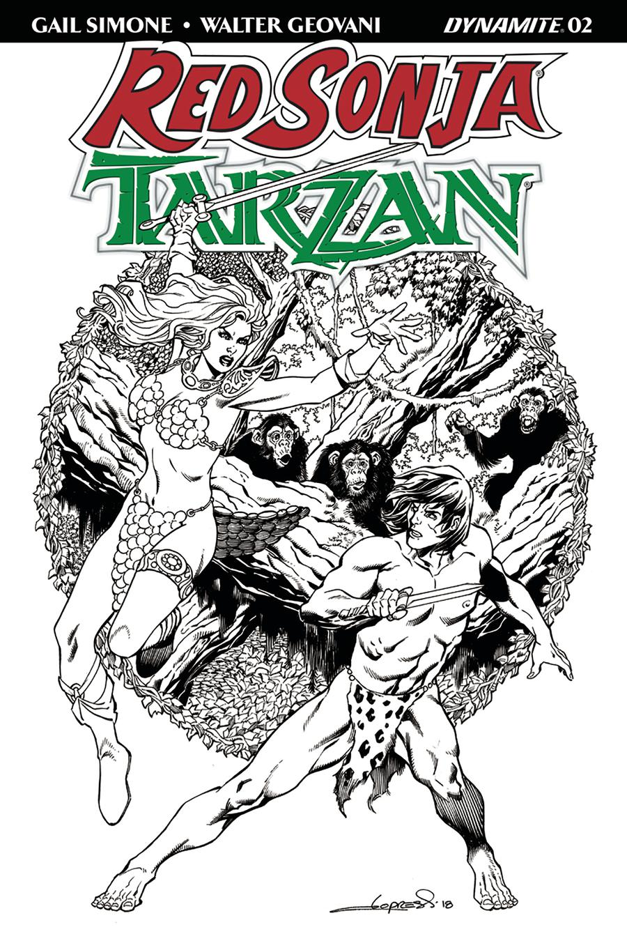 Red Sonja Tarzan #2 Cover G Incentive Aaron Lopresti Black & White Cover