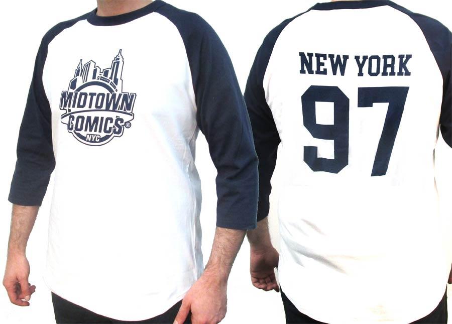 Midtown Comics Mens Raglan Baseball T-Shirt Large