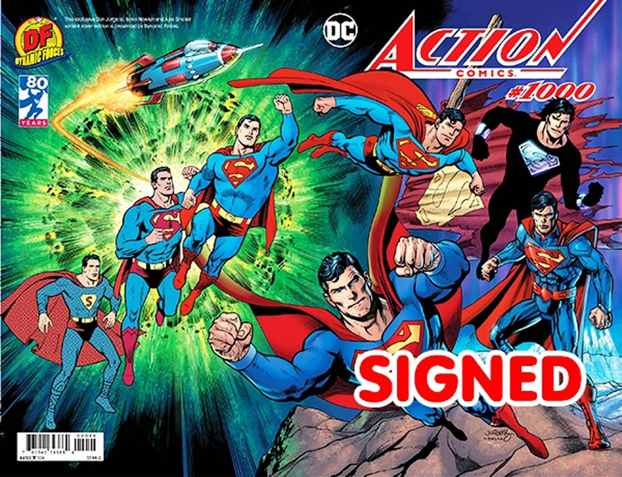 Action Comics Vol 2 #1000 Cover V DF Exclusive Dan Jurgens Wraparound Color Variant Cover Gold Signature Series Signed By Dan Jurgens