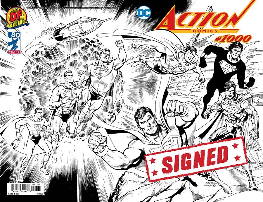 Action Comics Vol 2 #1000 Cover W DF Exclusive Dan Jurgens Wraparound Black & White Variant Cover Signed By Dan Jurgens