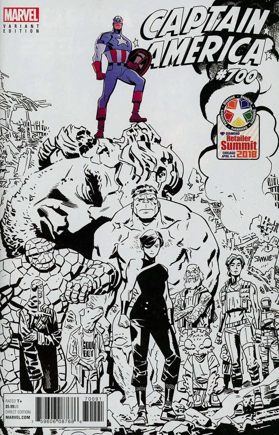 Captain America Vol 8 #700 Cover E Variant Retailer Summit 2018 Chris Samnee Cover