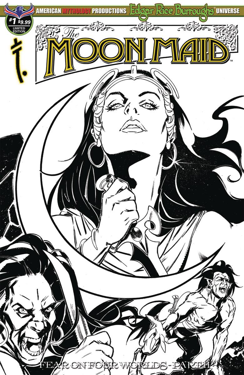Moon Maid #1 Cover D Variant Gabriel Rearte Visions Of The Moon Black & White Limited Edition Cover (Fear On Four Worlds Part 2)