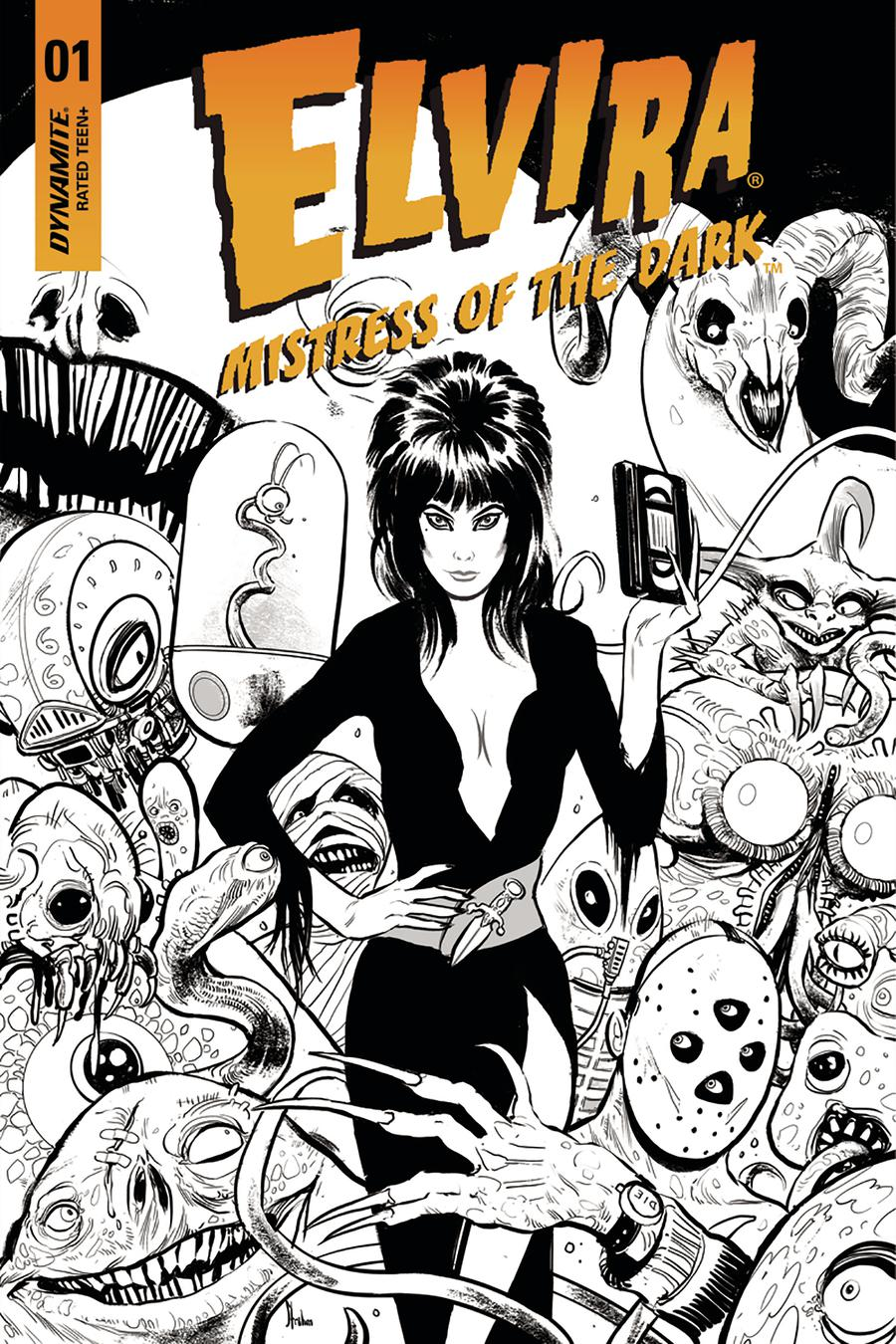 Elvira Mistress Of The Dark Vol 2 #1 Cover I Incentive Kyle Strahm Black & White Cover