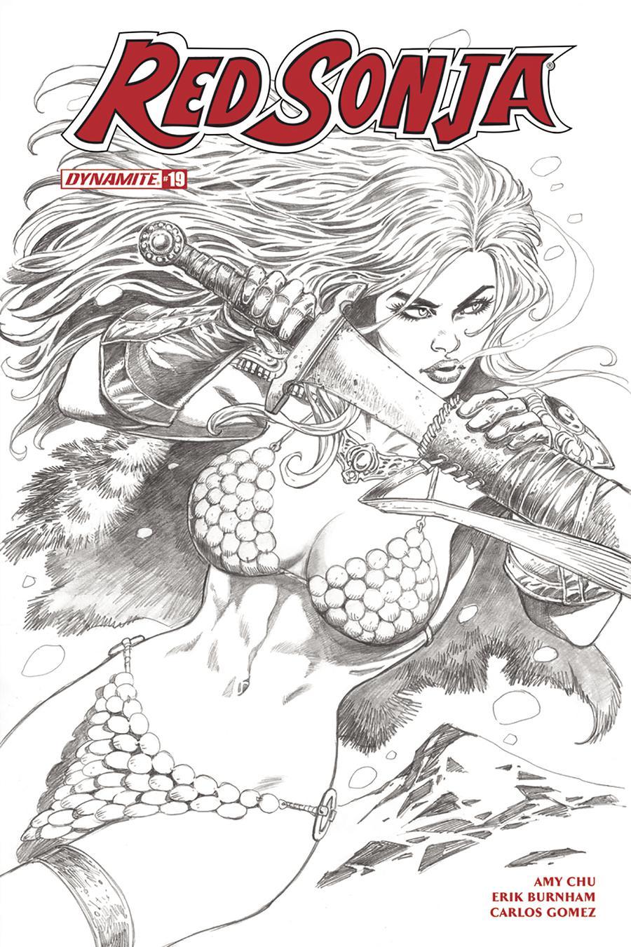 Red Sonja Vol 7 #19 Cover H Incentive Jan Duursema Black & White Cover