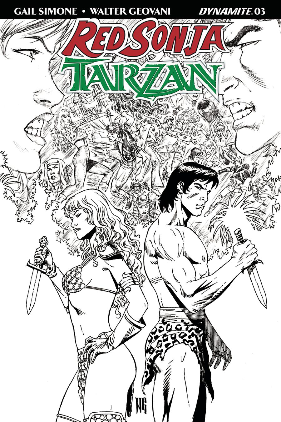 Red Sonja Tarzan #3 Cover E Incentive Walter Geovani Black & White Cover