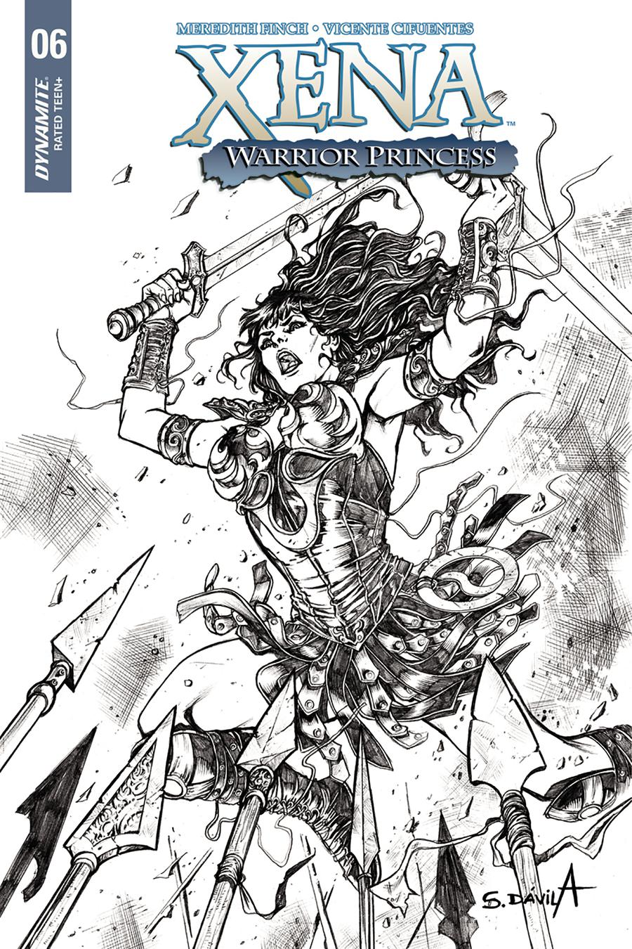 Xena Vol 2 #6 Cover E Incentive Sergio Davila Black & White Cover