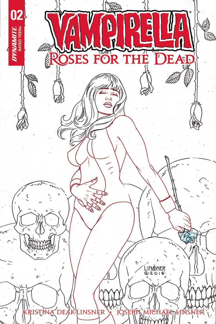 Vampirella Roses For The Dead #2 Cover D Incentive Joseph Michael Linsner Black & White Cover
