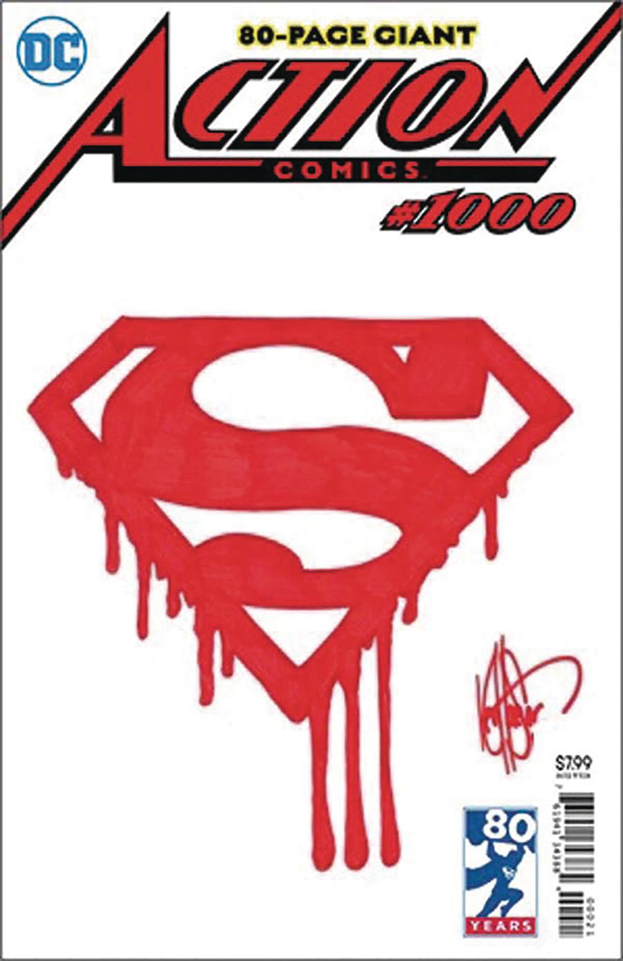 Action Comics Vol 2 #1000 Cover Z-B DF Signed & Remarked With A Superman Logo Sketch By Ken Haeser