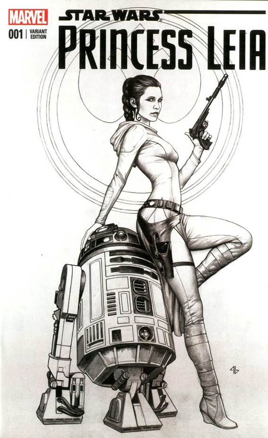 Princess Leia #1 Cover Z-O Emerald City Comic Con Adi Granov Black and White Variant Cover