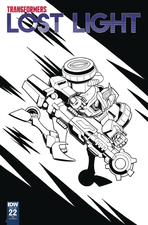 Transformers Lost Light #22 Cover C Incentive Nick Roche Black & White Cover