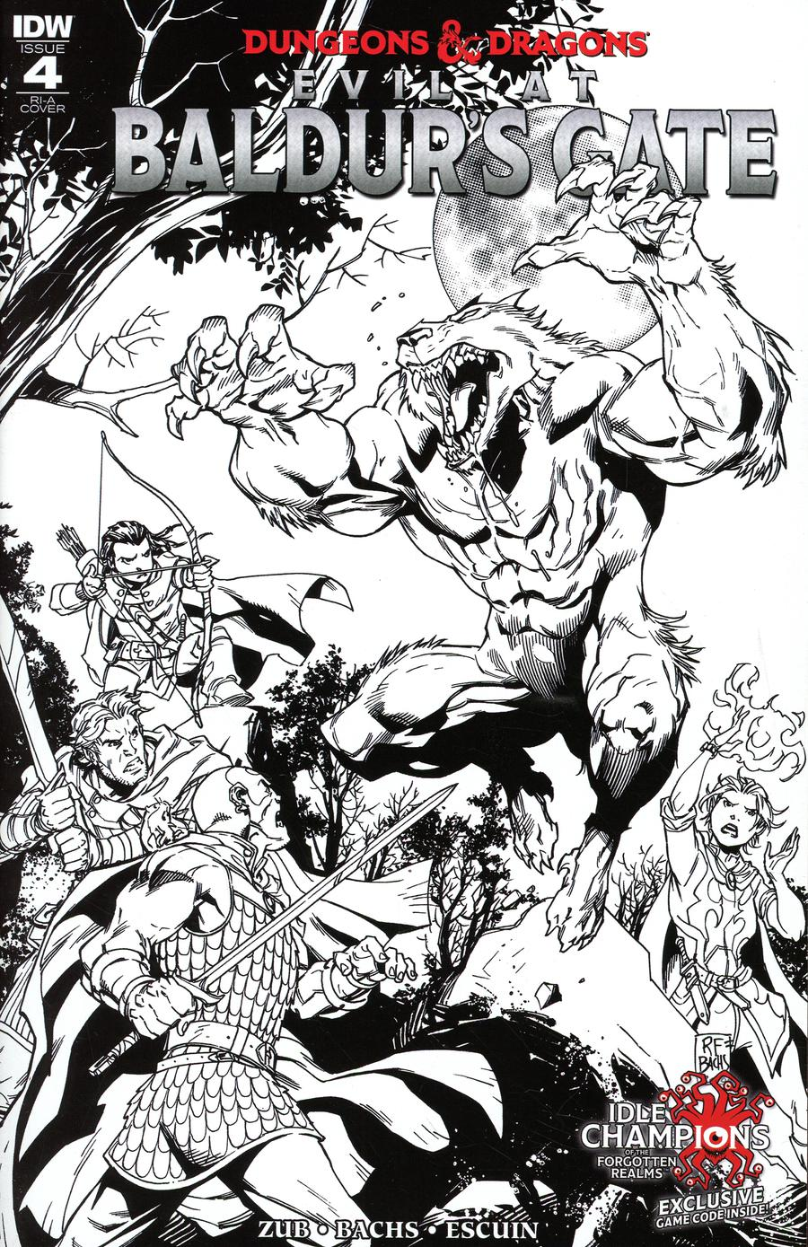 Dungeons & Dragons Evil At Baldurs Gate #4 Cover C Incentive Ramon Bachs Black & White Cover