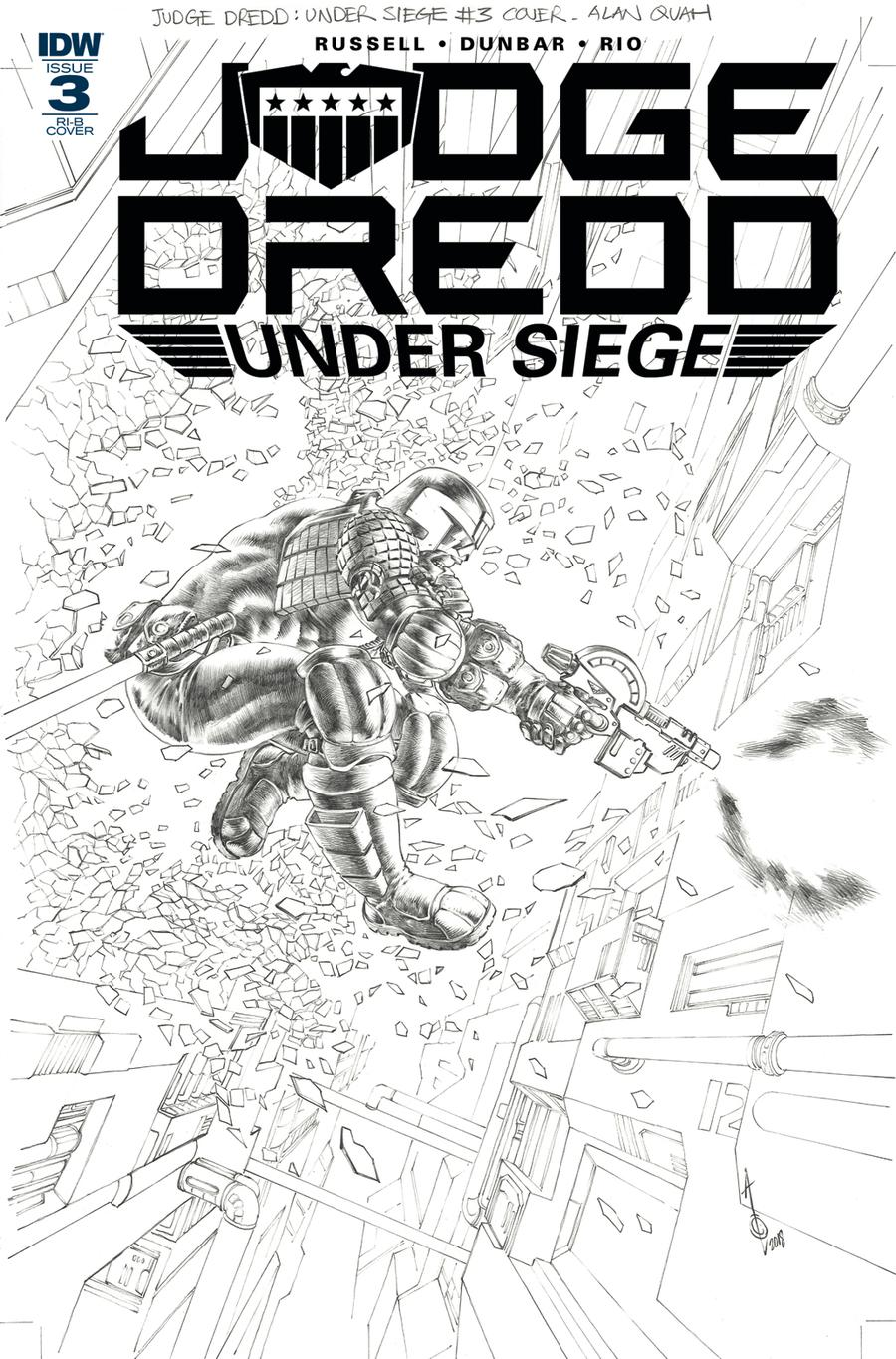 Judge Dredd Under Siege #3 Cover D Incentive Alan Quah Black & White Cover
